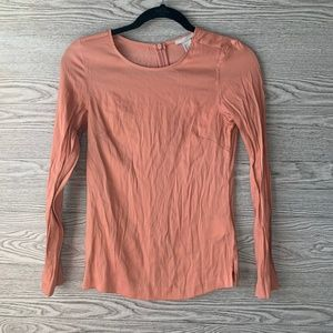 H&M Pink Long Sleeve Crew Neck Top With Side Slits